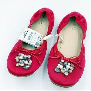 Zara Kids Red Satin Gemstone Ballet Flats 4&1/2